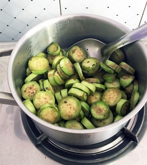 Eggplant Slices Cooking