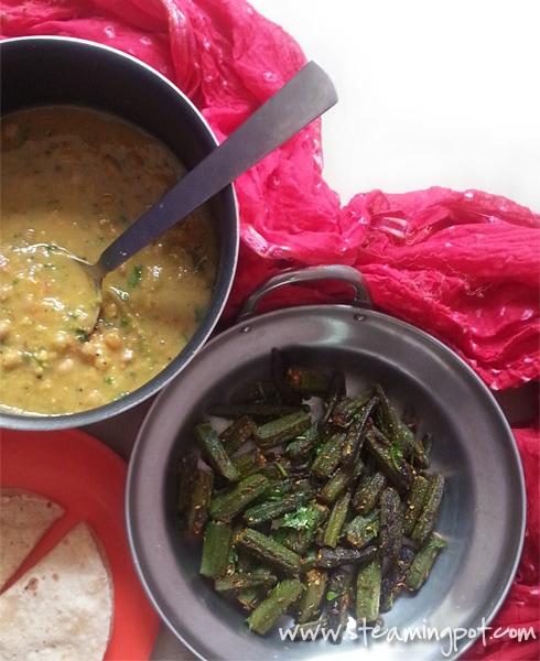 Masala Bhindi, Gujarati Dal, Chapatis