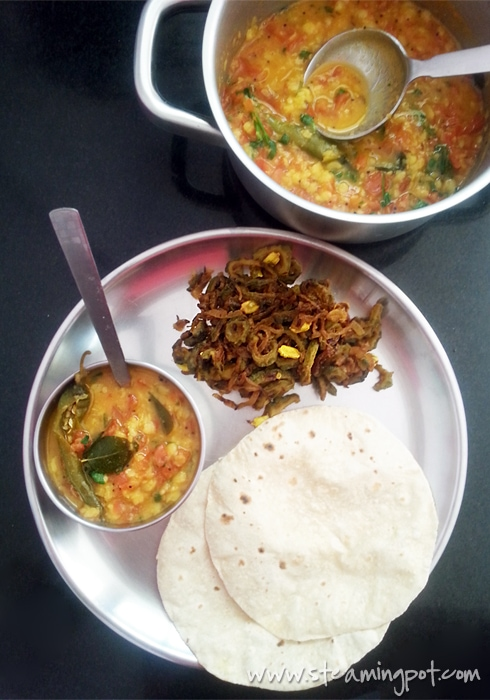 Bitter Gourd Onion Fry, Tomato Toor Dal, Chapatis