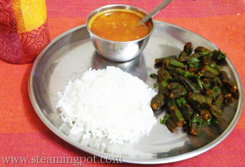 Masala Bhindi with Rice and Tomato Toor Dal