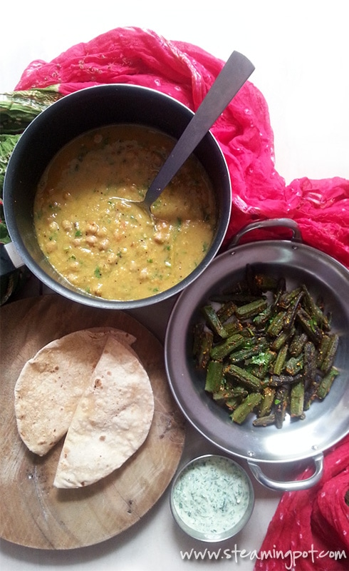 Gujarati Dal - Toor Dal with Peanuts, Ginger and Jaggery