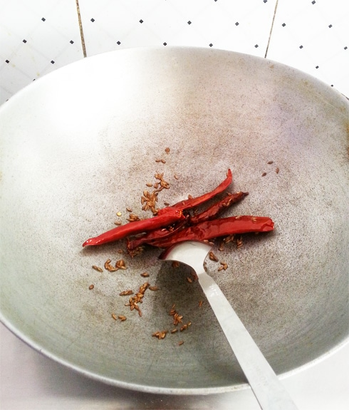 Dry Red Chilies, Frying
