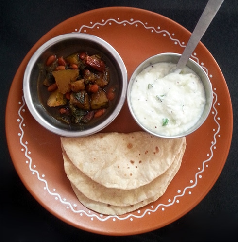 Lauki Raita, Chapatis, Pumpkin Kidney Bean Curry
