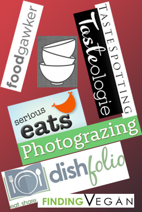 Collage of Food Photo Galleries: Dishfolio, FoodGawker, FindingVegan, PhotoGrazing, Tastespotting, Tasteologie