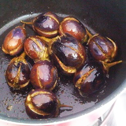 Frying Stuffed Baby Eggplant