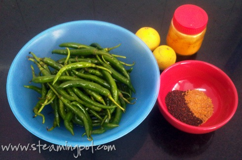 Green Chili Pickle Ingredients