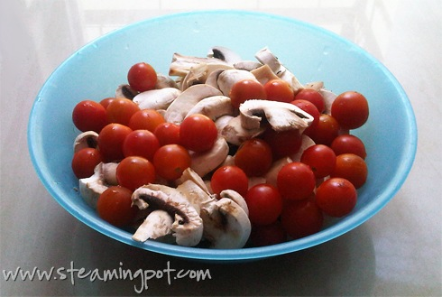 Mushrooms and Cherry Tomatoes