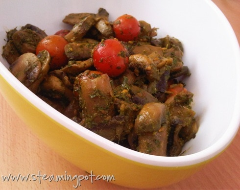 Recipe Ideas Using Pesto: Mushroom Cherry Tomato Saute