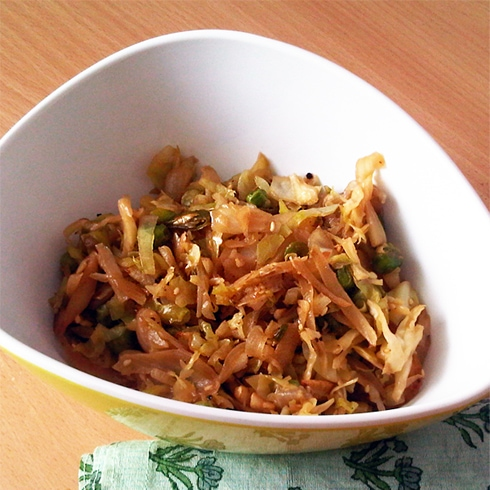 Cabbage and Peas Stir Fry with Honey Soy Dressing
