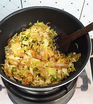 Cabbage with Honey Soy, Frying