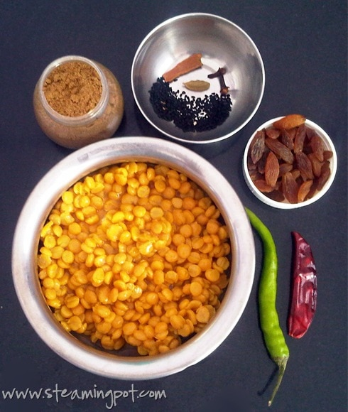 Chana Dal with Raisins - Ingredients