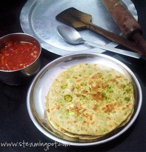 Peas Parathas, Cooked