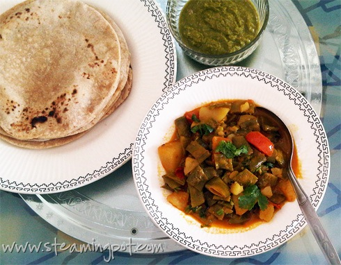 Aloo Sem Curry with Chapatis and Chutney