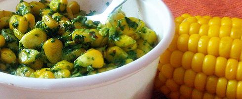 Corn with Spinach Cheese
