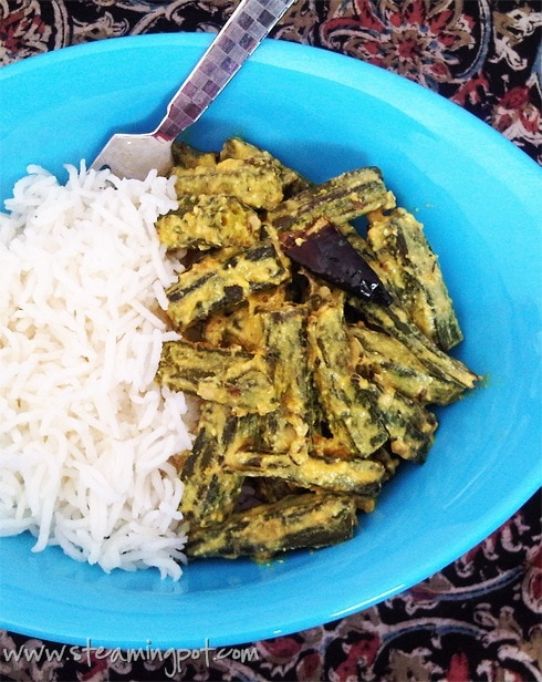 Dahi Bhindi: Okra with Ginger Pepper Yogurt