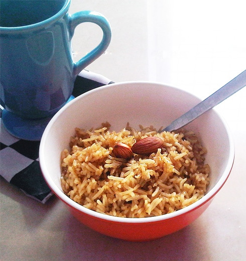 Meethe Chawal - Jaggery Rice with Almonds