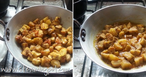 Plantain Curry, Cooking