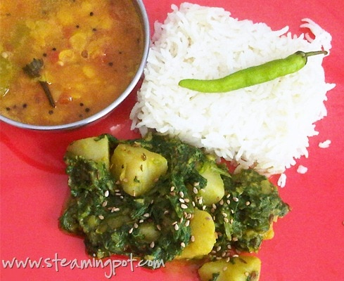 Aloo Palak: Spinach Potato Curry