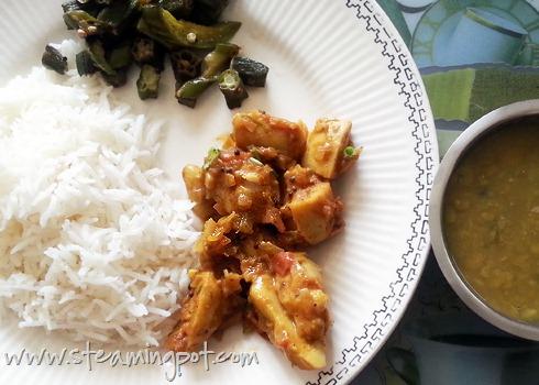 Mealtime: Rice, Okra Fry, Arbi Masala, Dal