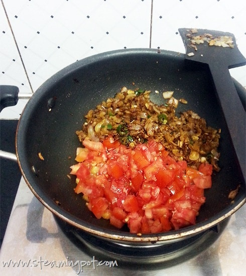 Baingan Bharta Fried Onions and Tomatoes