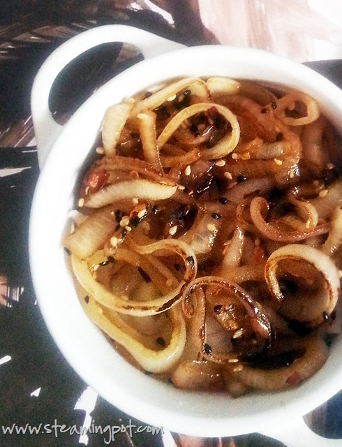 Quick Tasty Onion Fry with Honey Soy Dressing