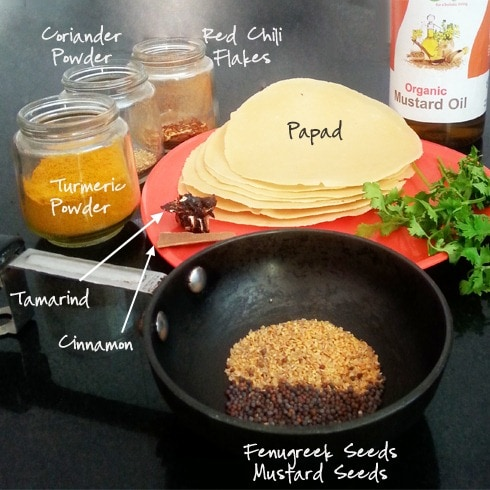 Papad Sookhi Sabzi Ingredients