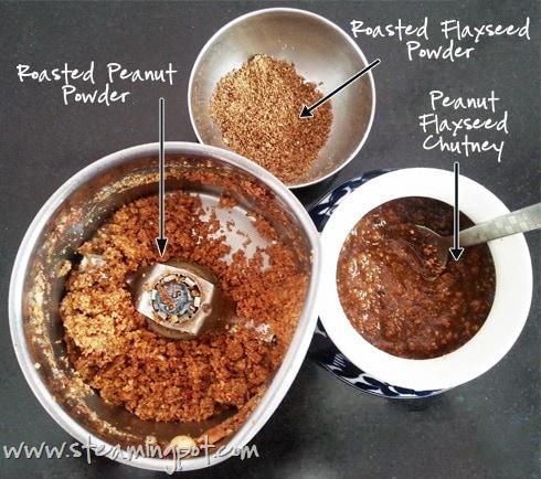 Making Peanut Flaxseed Chutney