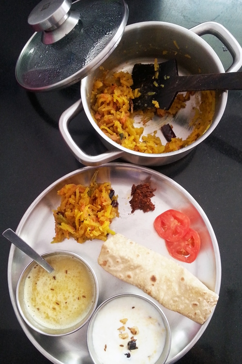 Red Pumpkin Bharta, Tadka Dahi, Toor Dal
