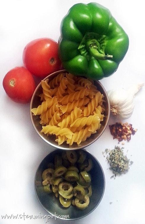 Tomato Olive Capsicum Pasta Ingredients