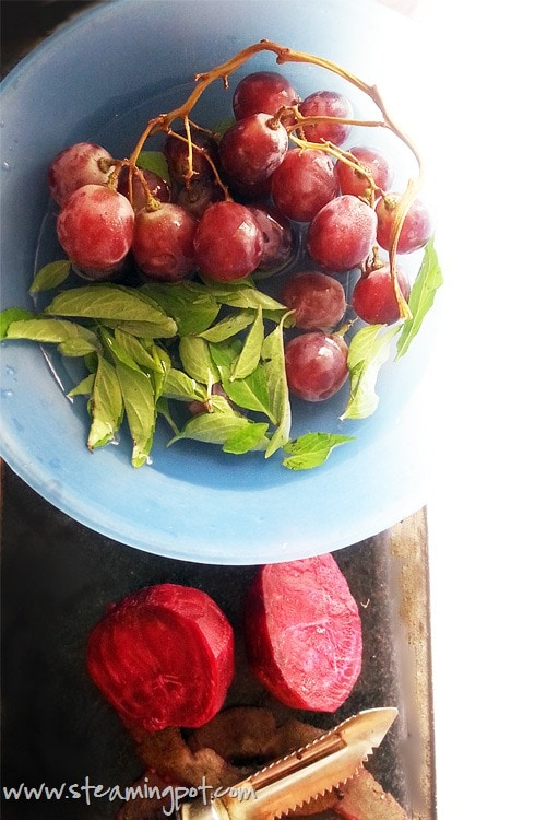 Red Globe Grapes, Basil Leaves, Peeled Beetroot