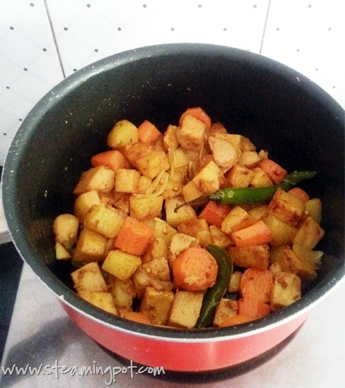 Potato Carrot Yam Cooking