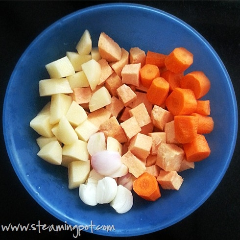 Yam, Onion, Carrot, Potato, Chopped