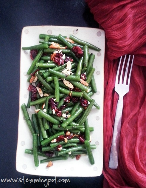 Beans with Roasted Nuts and Cranberries
