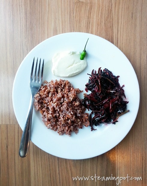 Brown Rice and Red Spinach