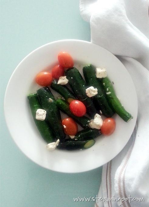 Microwaved Zucchini and Cherry Tomato
