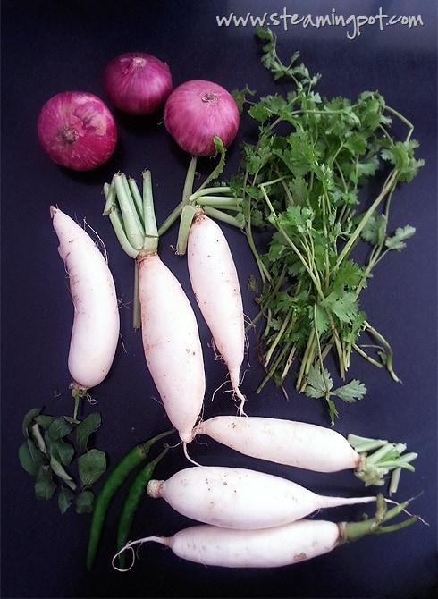 Mooli Lachha Sabzi Ingredients - Radish, Onions, Chilies