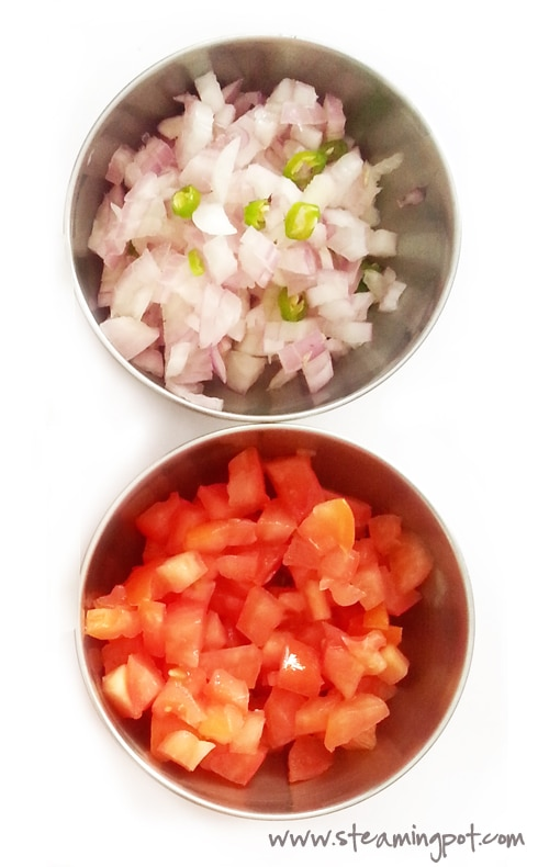Chopped Onions and Tomatoes