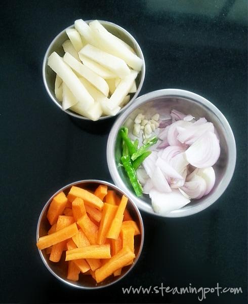 Cut Potatoes, Onions, Carrots