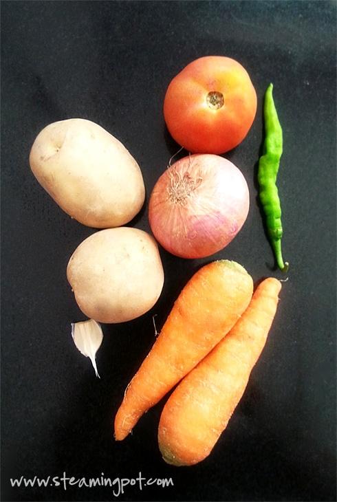Potatoes, Carrots, Onion, Tomato, Garlic, Green Chili
