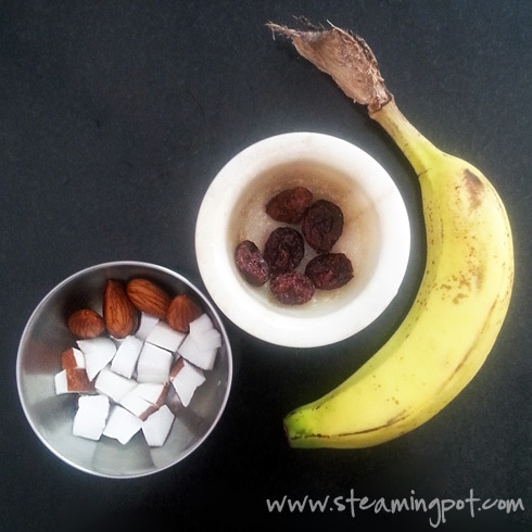 Almonds, Coconut Cubes, Banana and Dried Cranberries