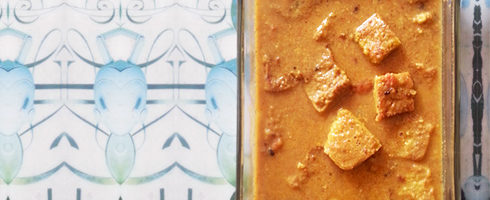 Besan Sabzi - Gram Flour Squares in Curry