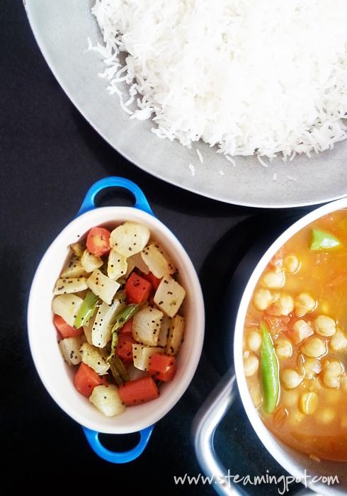 Carrot Radish Curry, Rice, Chhole