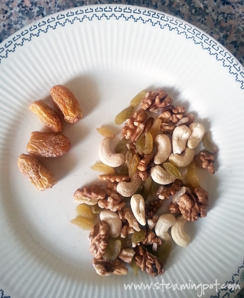 Dried Dates, Cashew Nuts, Raisins, Walnuts