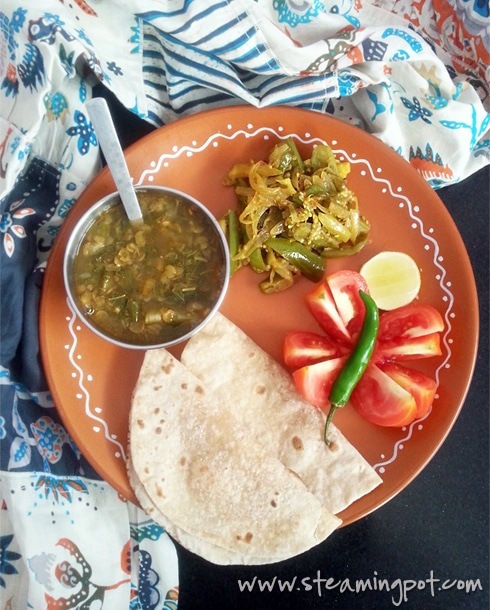Slender Green Eggplant with Onions, Amla Chaulai Dal, Chapatis