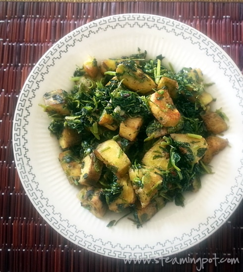 Kachcha Kela Methi Bhujiya: Plantain and Fenugreek Leaves