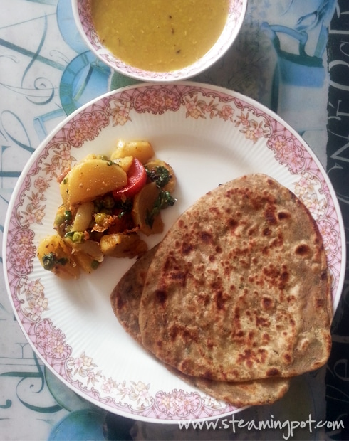 Shalgam Sabzi, Parathas, Dal