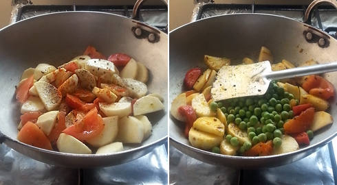 Turnips, Carrots, Peas - Cooking with Tomatoes