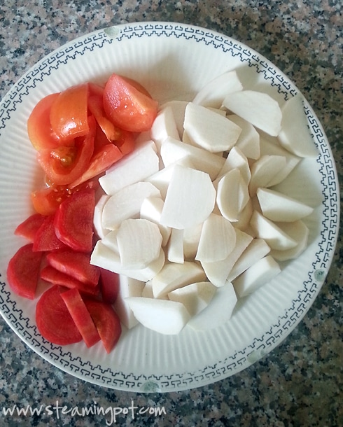 Turnips, Carrots, Tomatoes Sliced