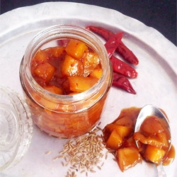Ginger Jaggery Chutney with Mango Chunks