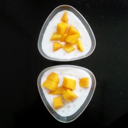 Sabudana Coconut Milk Pudding with Mangoes
